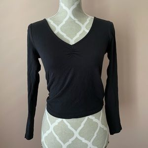 Basic black long sleeve top